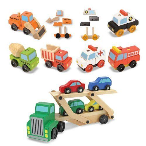 Melissa Doug Car Carrier Plus Stacking Construction And