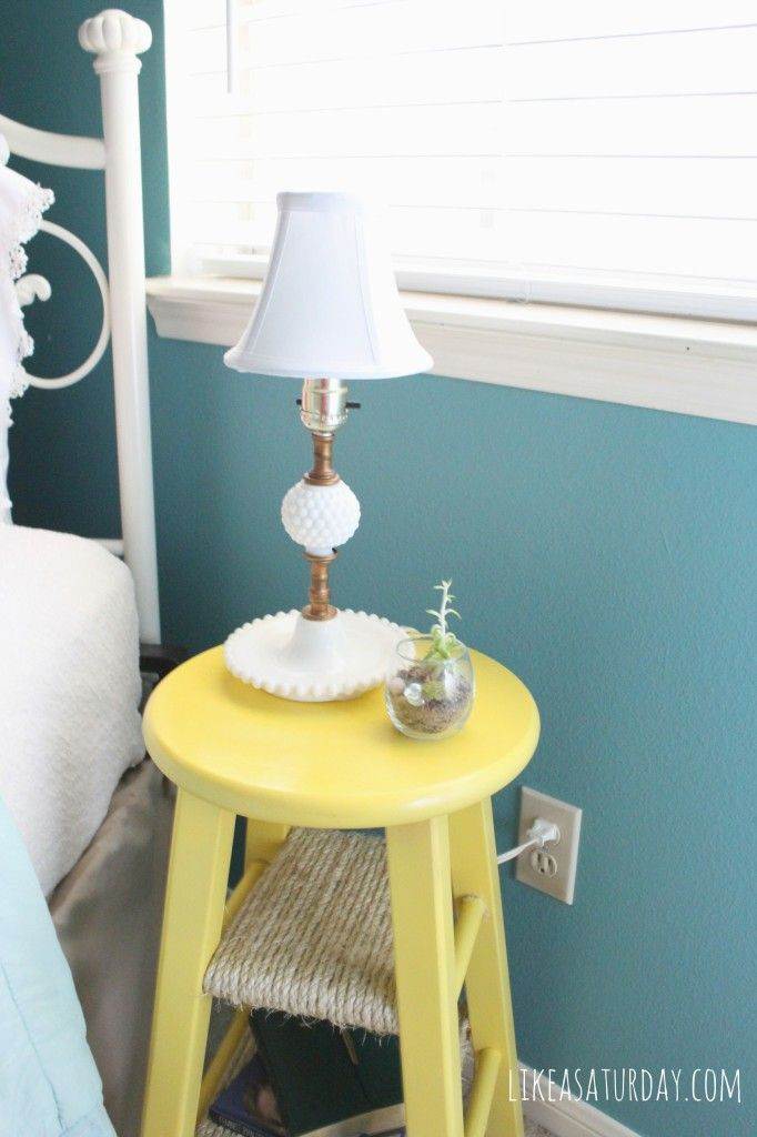Best Turn Our Old Stool Into A Fun Side Table With A Pop Of 400 x 300
