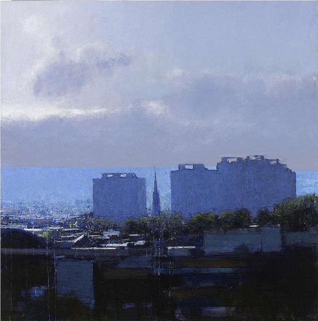 Andrew Gifford Elswick - Church & Tower Blocks Looking West (mid-afternoon clouds) (photo by BoFransson, via Flickr)