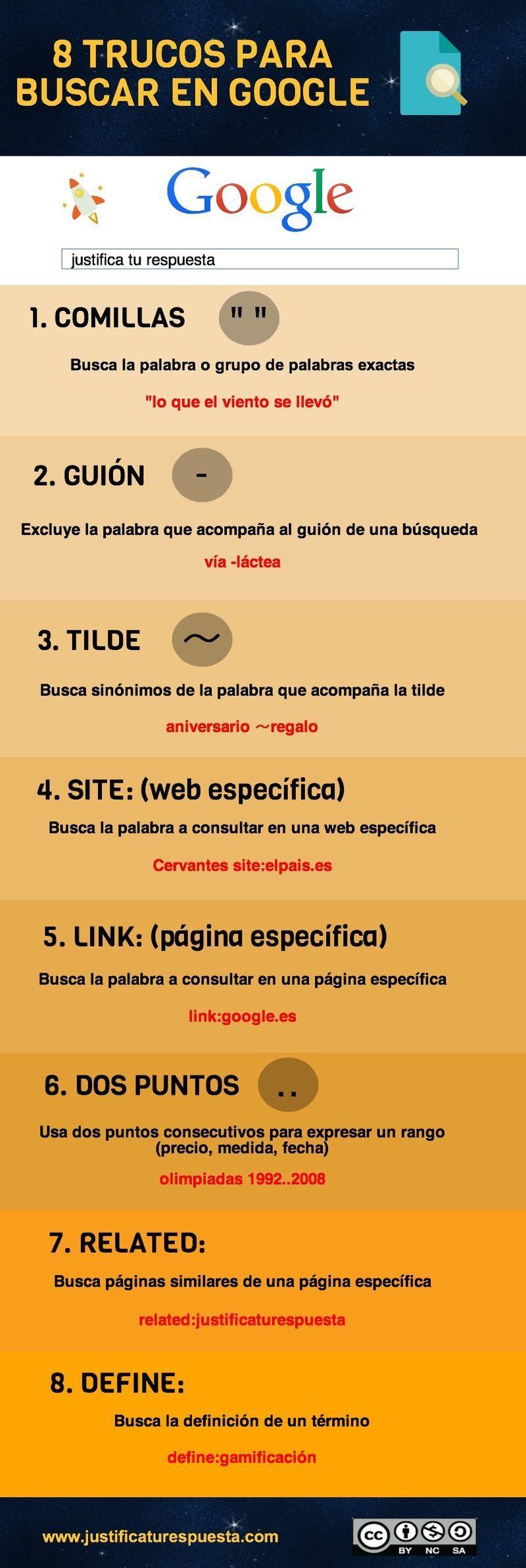 Puedes mejorar tus búsquedas en Google, consiguiendo ahorrar tiempo y resultados más precisos, siguiendo los ocho trucos que ofrece esta infografía.