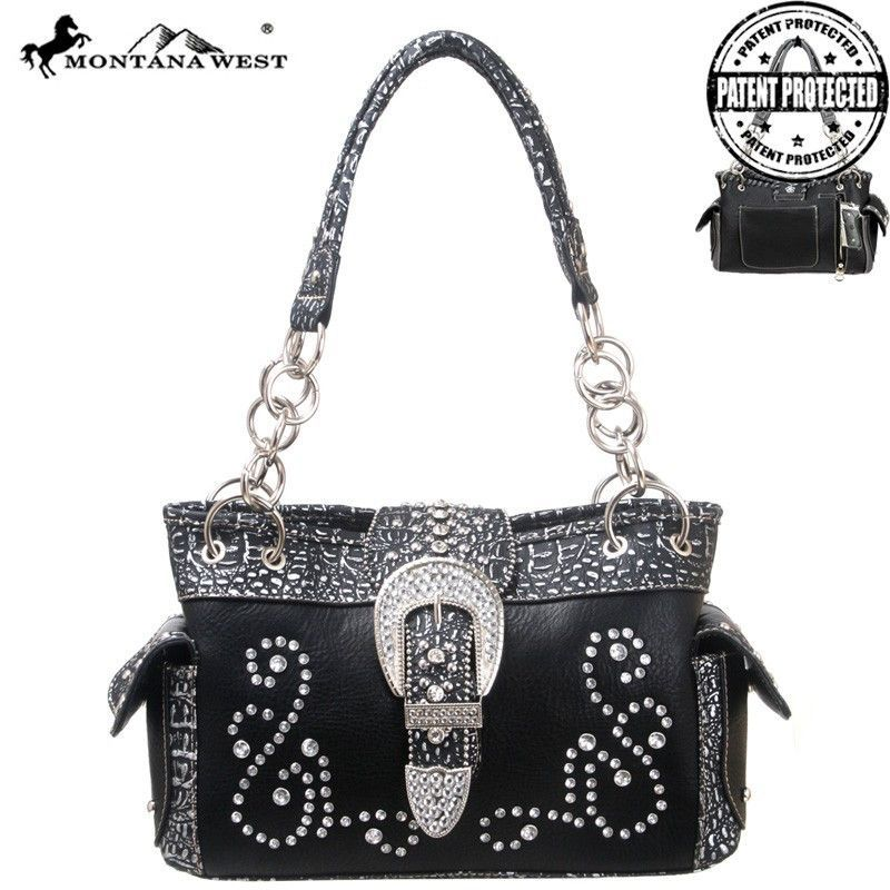 Made of PU leather, this concealed handgun handbag has: A rhinestone swirl design on the front A buckle flap that comes over to snap close A zippered pocket on the back to conceal the handgun (8.5 x 5