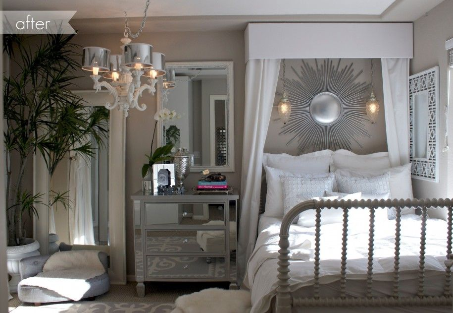 Elegant Bedroom Decorating Ideas With Light Grey Couch And Dress Table  Cabinet And Mirror Also White
