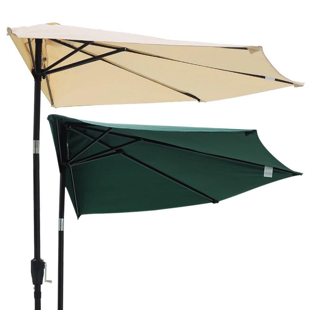 Thelashop 10 Ft Patio Half Umbrella Off The Wall Tilt Balcony Shade Window Sun Shades Patio Wall