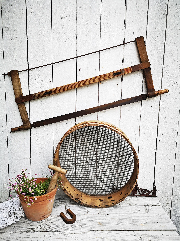 Uraltes Kornsieb, großes Sieb, Getreidesieb, Mehlsieb, Ø 50cm, gebogenes Holz