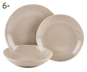 set di piatti in earthenware ritmo tortora 18 pz