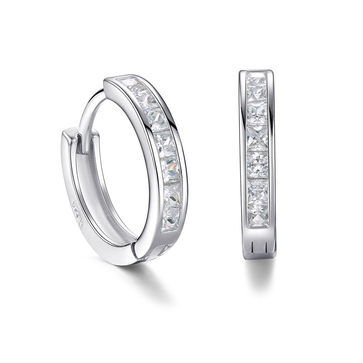 c8b615d20 Hoop Earrings Square Cubic Zircon White Gold Plated 925 sterling silver  Hinged Earrings -- Click