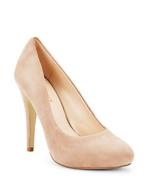 Nine West Solid Leather High Heel Pumps - Natural