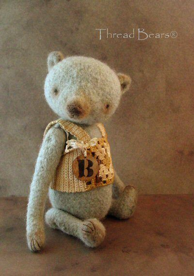 Helpful Vintage Handmade Little Felt Bears One Of A Kind Artist
