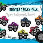 This packet includes 28 images relating to monster trucks.  Included in this packet8 Monster Trucks11 Backgrounds4 Frames2 Tire tracks1 Tire...