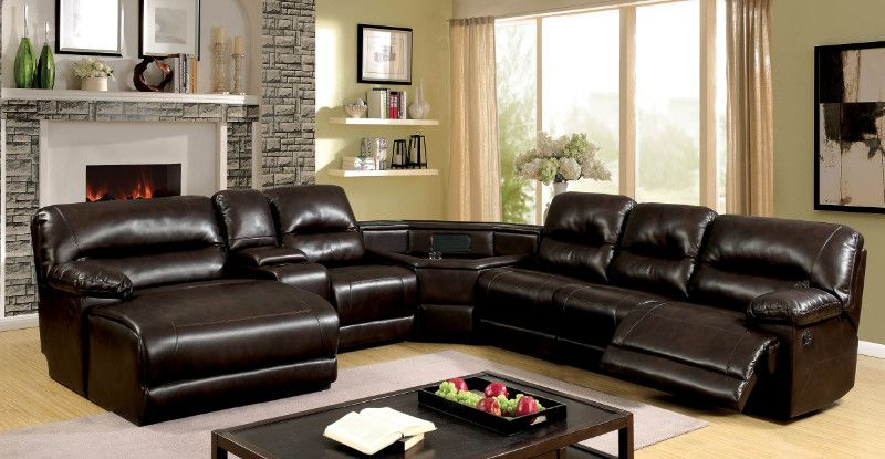 Cm6822br T 6 Pc Glasgow Ii Brown Breathable Leatherette Table Wedge Sectional Sofa With Recliners On The Ends