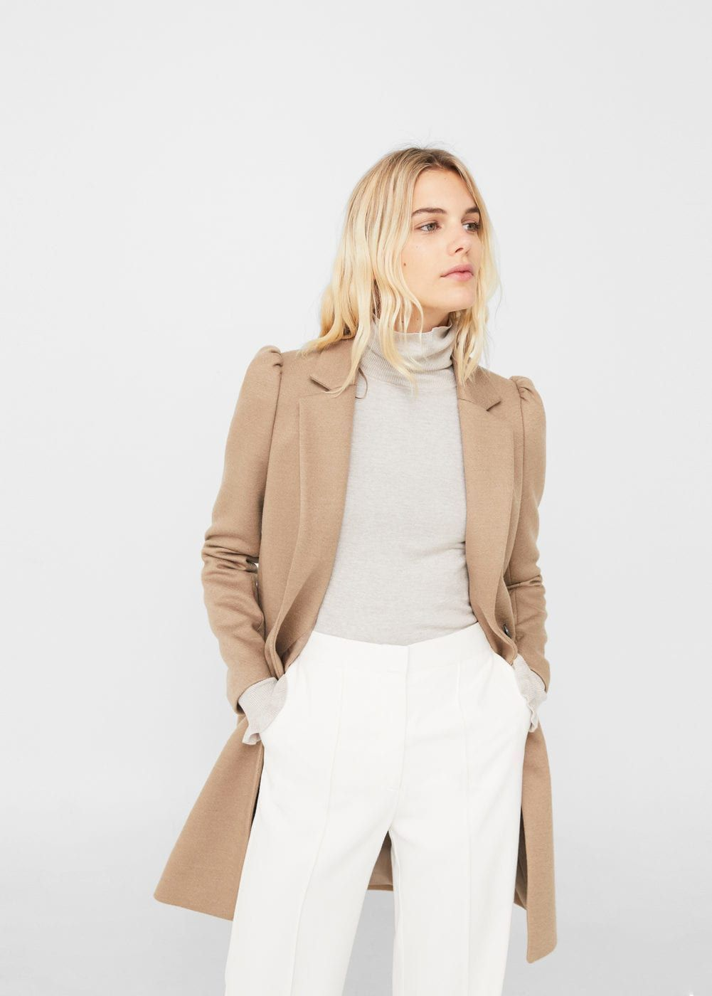 Puffed sleeves coat Women   MANGO USA   Fall clothing