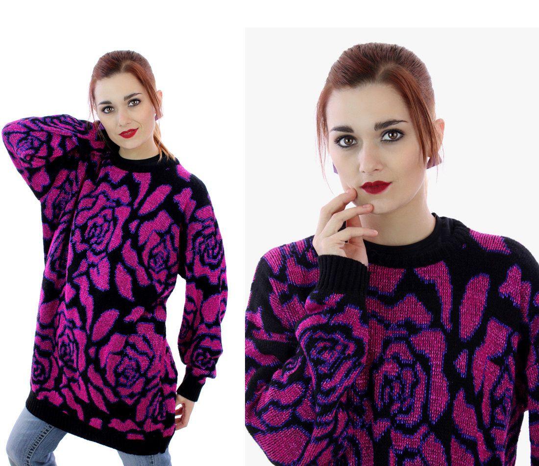 80s Metallic Sweater 90s Hot Pink Purple Rose Pattern Acrylic ...