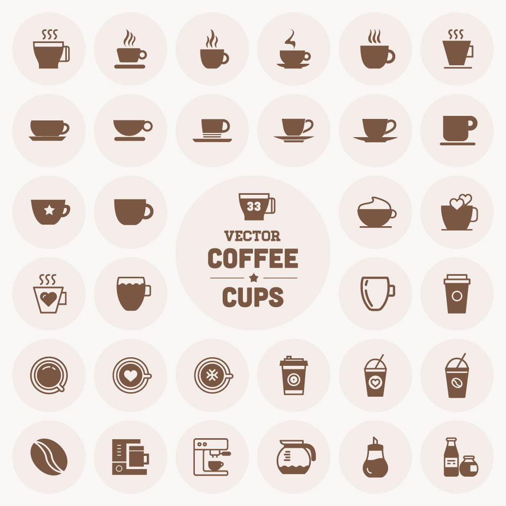 Vector coffee cup icons business cards pinterest coffee cup free vector coffee cup icons cup icons free download reheart Images