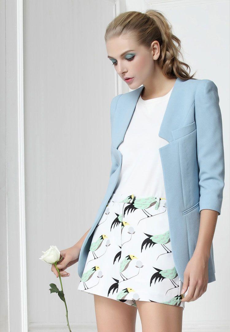 Women S Light Blue Round Collar Three Quarter Sleeve All Match Suit