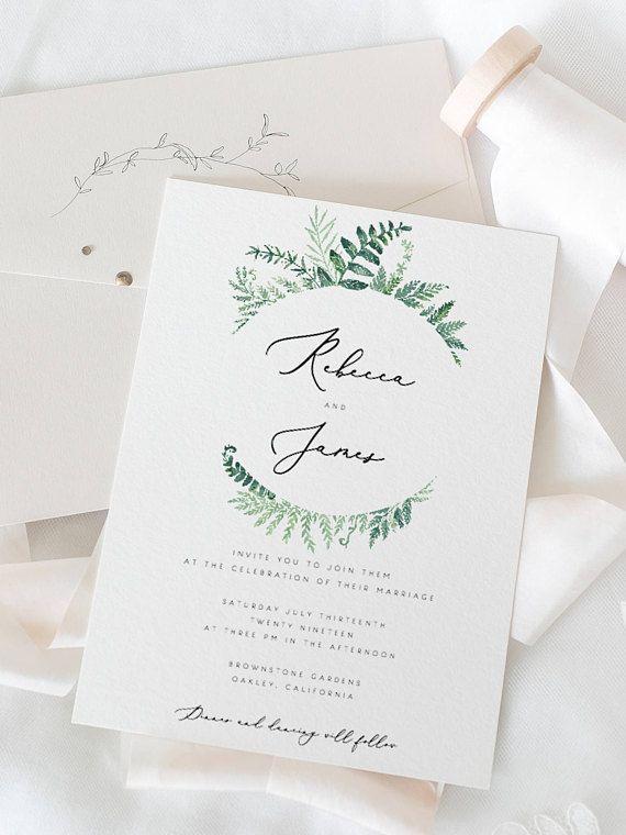 Printable Wedding Invitation Template Ferns Wedding Invite
