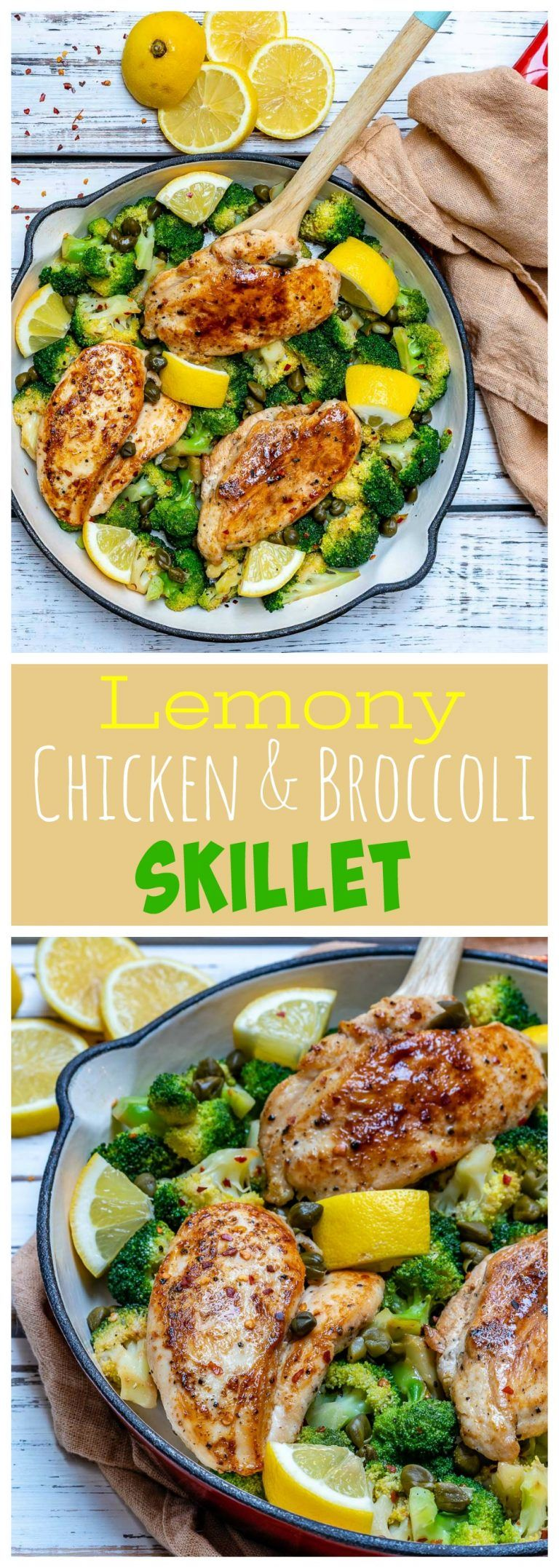 Lemony Chicken + Broccoli Skillet Meal #cleaneating