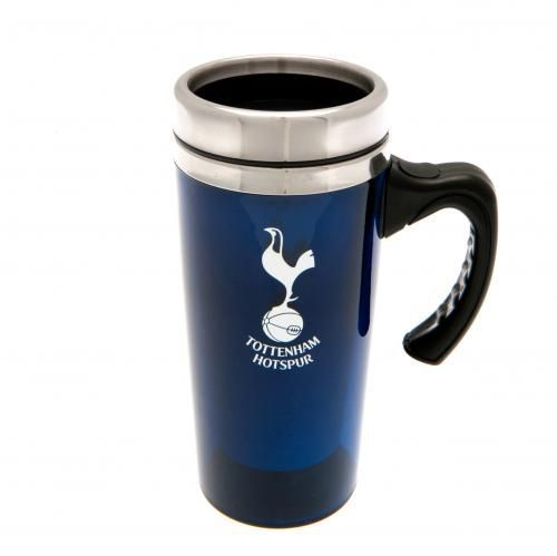 Aluminium Tottenham Hotspur travel mug in club colours and featuring the club crest in white. Great for drinking on the go! FREE DELIVERY on all of our gifts