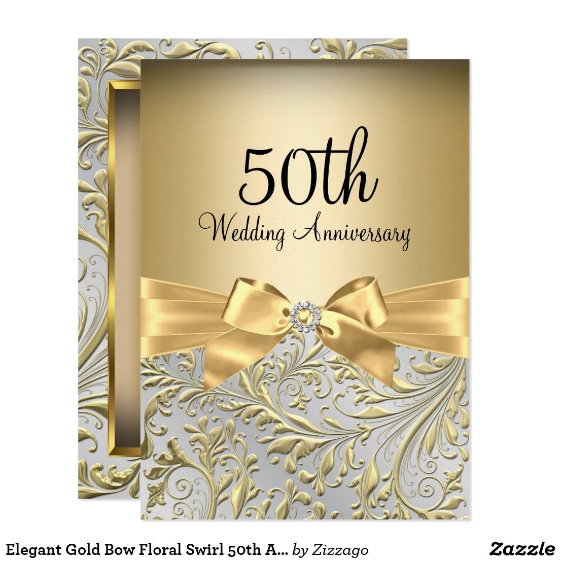 Elegant Gold Bow Floral Swirl 50th Anniversary Invitation Go
