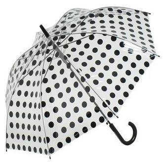 Childrens PVC Transparent Umbrella Kids Spotty Pink & Blue Umbrella (Royal Blue)