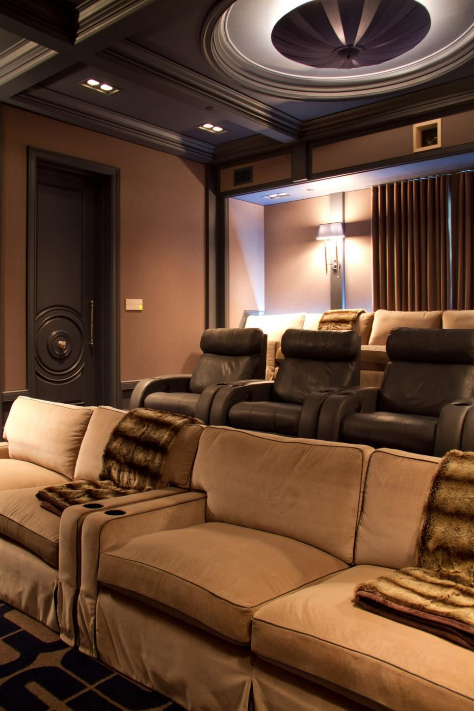 Contemporary Home Theater With Neutral Color Palette