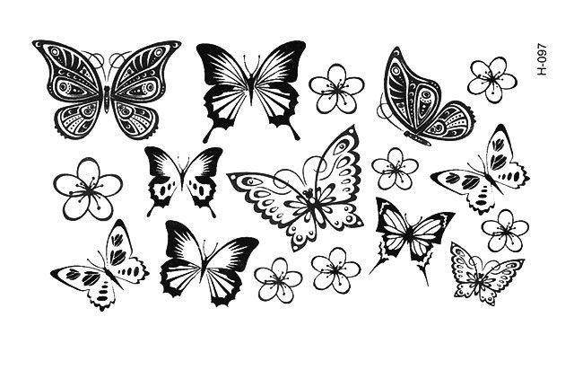 Black Henna Tattoo Uk: Small Blue Black Henna Lace Butterflies