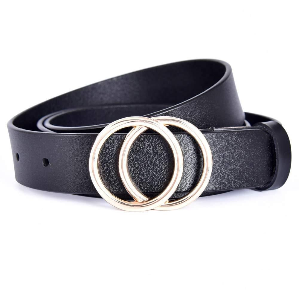 Talleffort Genuine Leather Belts for Women Double O-Ring buckle Belt for Jeans Pants Dresses