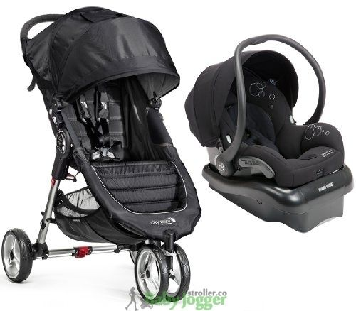 Baby Jogger City Mini Travel System With Maxi Cosi Mico AP Infant Car Seat Black