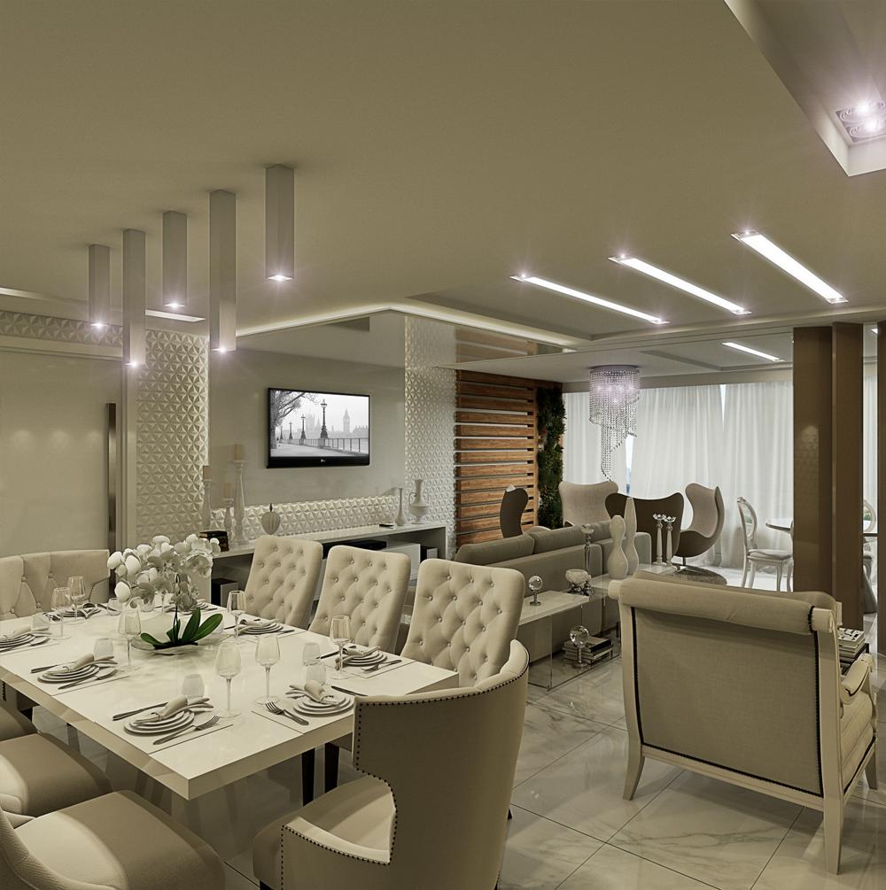 Apartamento Com Salas De Estar Jantar Tv E Varanda Decoradas