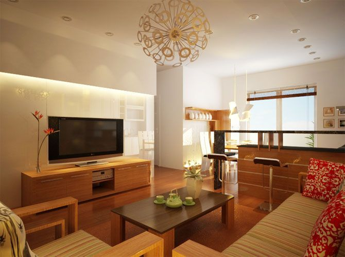 Modern Small Living Room Kitchen Combination Interior  Salon Fascinating Small Space Kitchen Living Room Design Inspiration