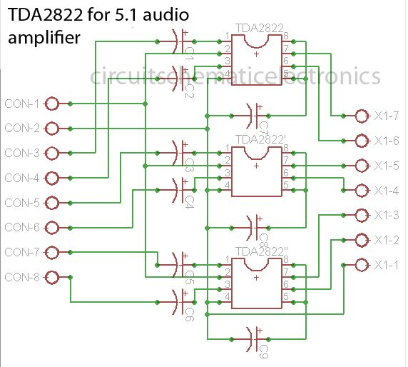 2 0.5 ohm subwoofer wiring tda2822 made for 5.1 audio amplifier system in 2019 | audio
