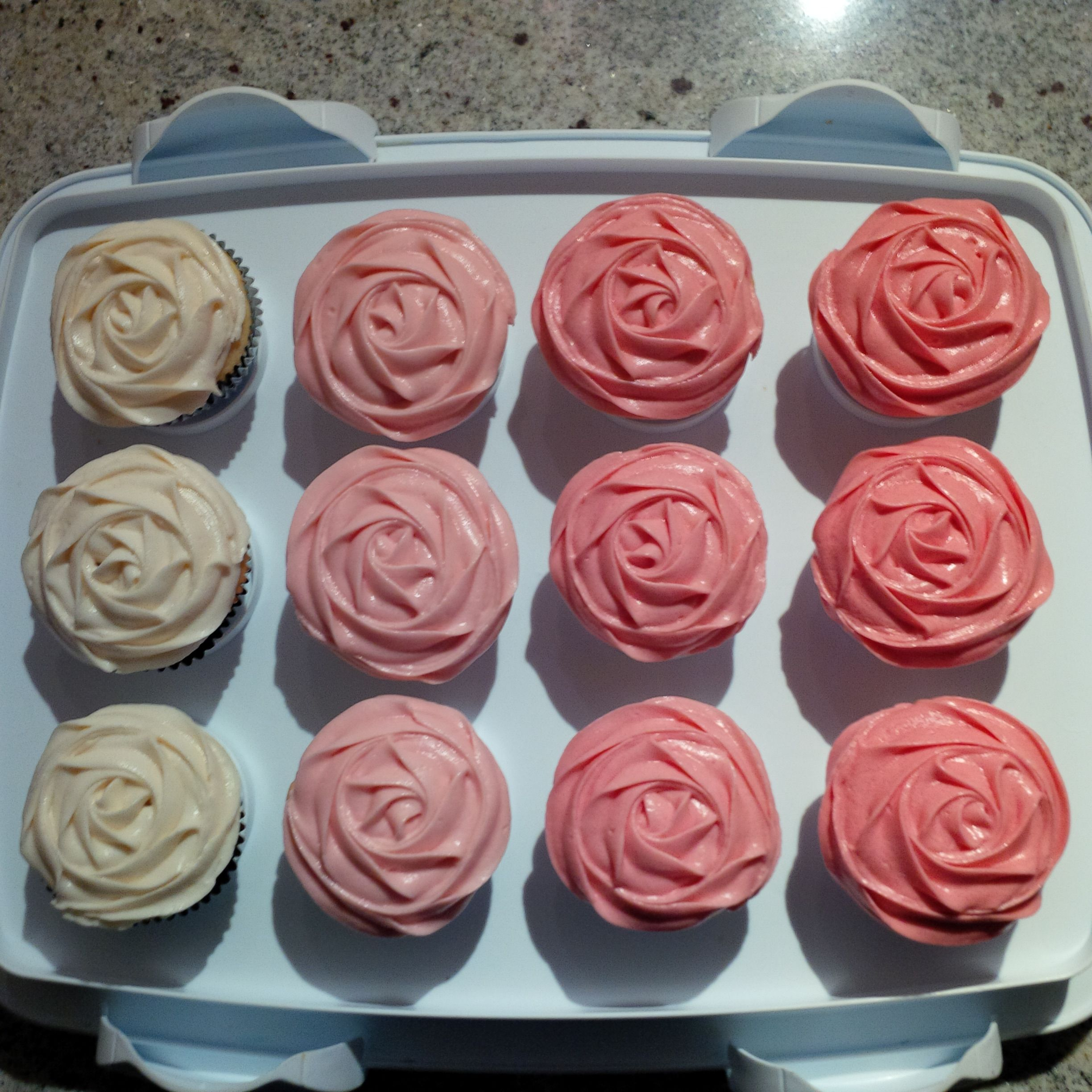 Pink ombre rose petal cupcakes.  An easy way to make simple cupcakes look fancy!