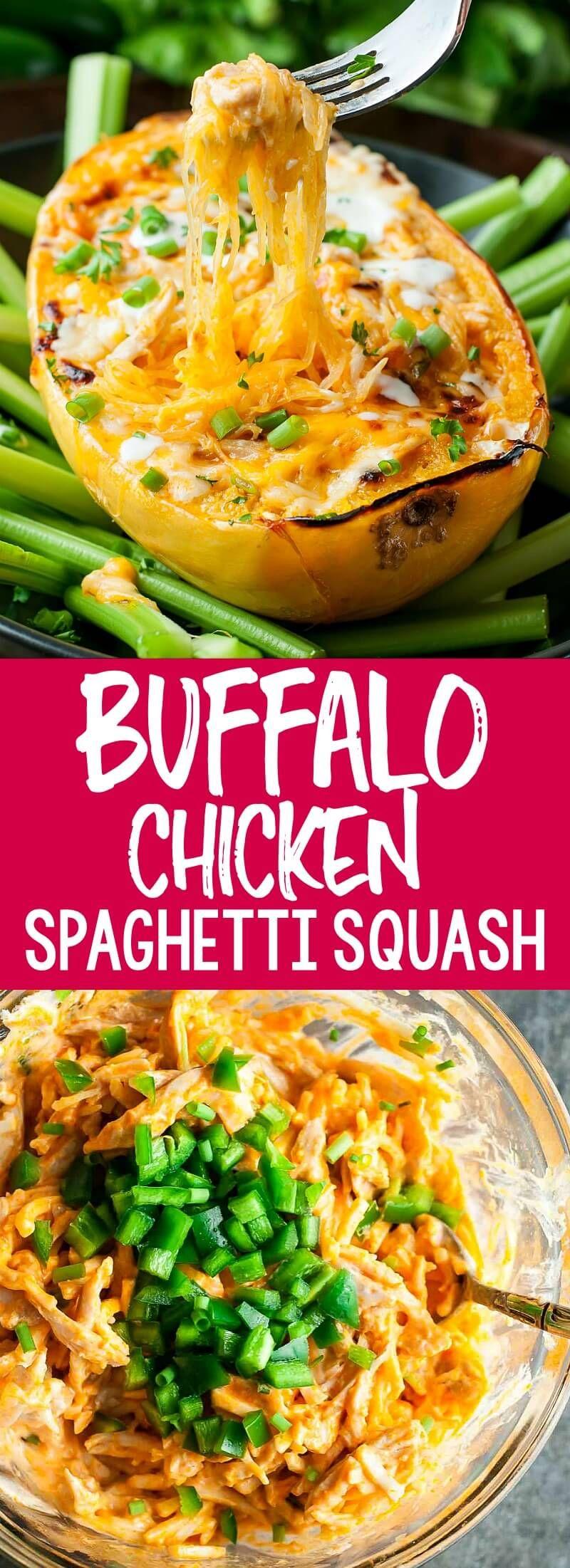 Buffalo Chicken Spaghetti Squash Bowls - Peas and Crayons