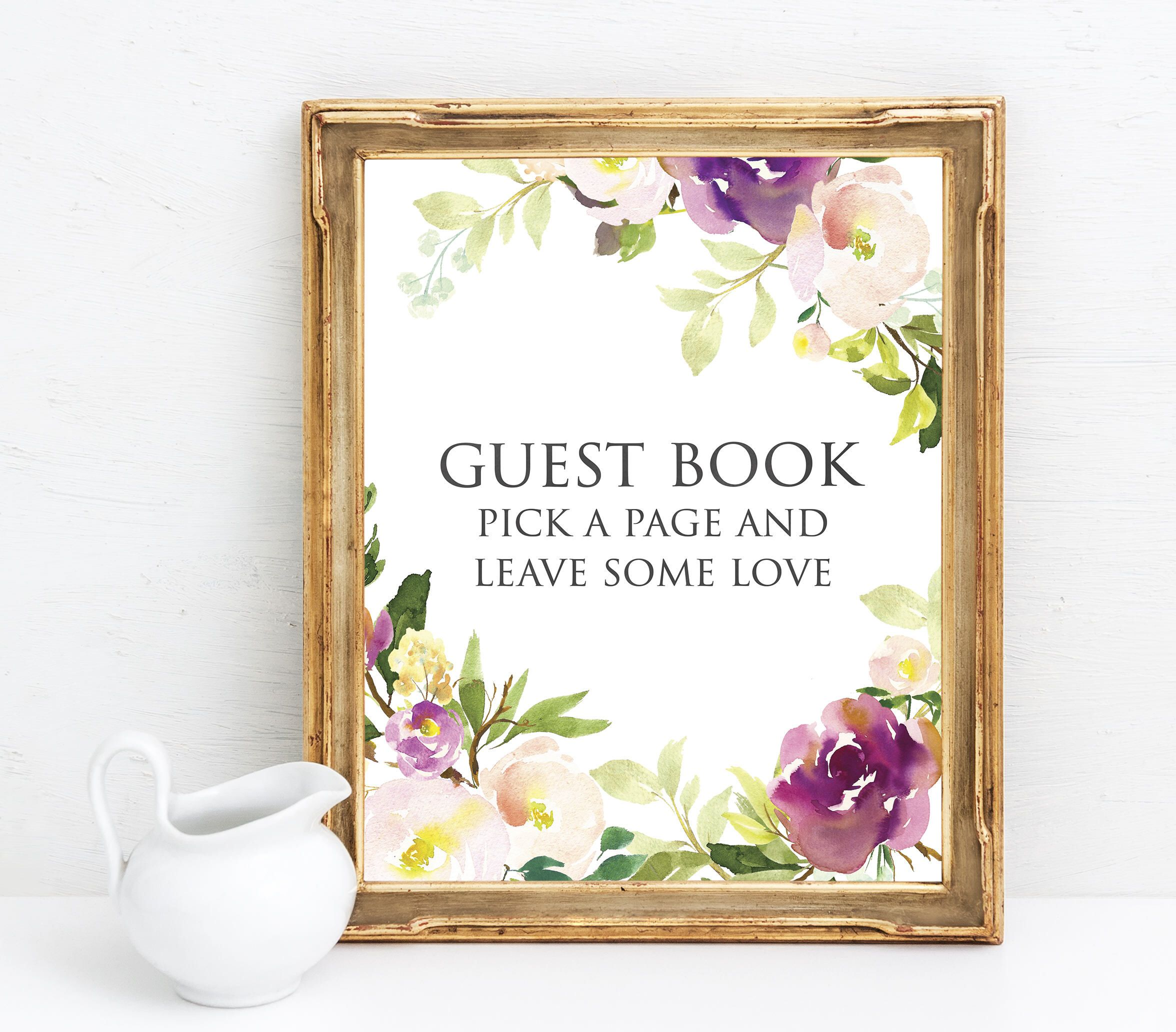 Lavender decor for wedding Guest Book Sign Printable  Lavender and Plum Wedding Decor  Guest