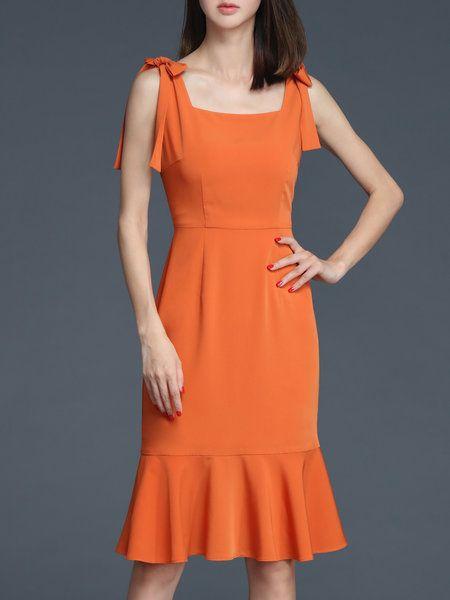 680924eed31d Shop Midi Dresses - Brown Sleeveless Ruffled Midi Dress online. Discover  unique…
