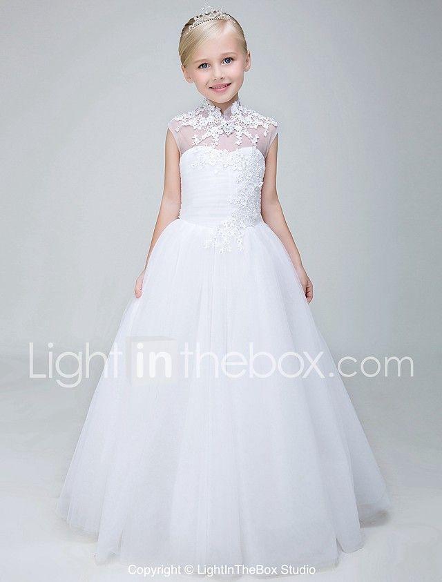 b1c54644a657 Ball Gown Ankle Length Flower Girl Dress - Tulle Sleeveless High ...