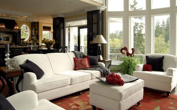 wohnzimmer einrichten wohnzimmermöbel weiß bezogen sofa sessel ...