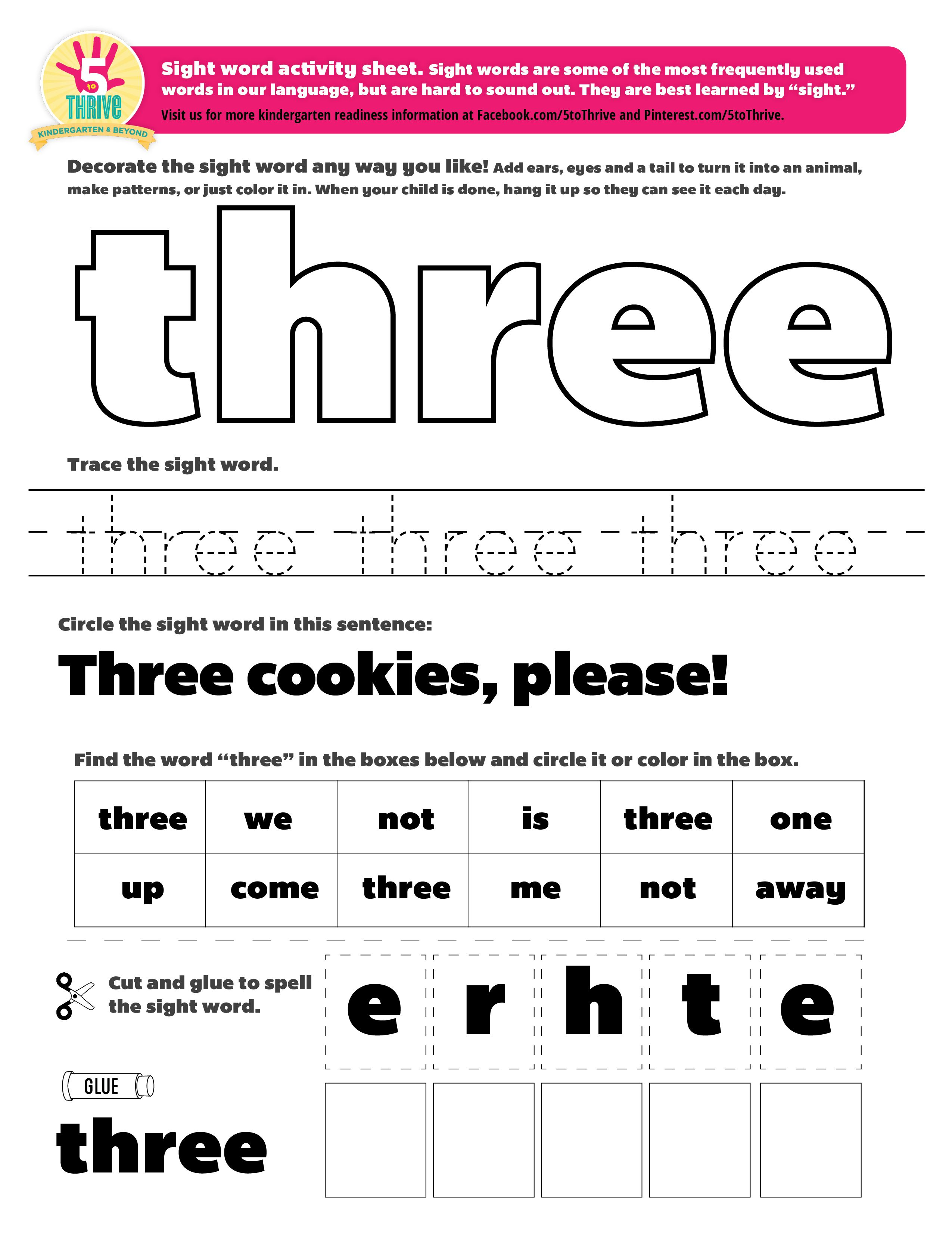 Three Cookies Please This Week 39 S Sight Word Quot Three