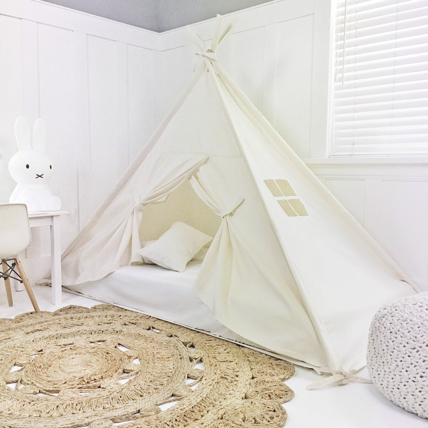 Play Tent Canopy Bed in Natural Canvas WITH Doors Twin