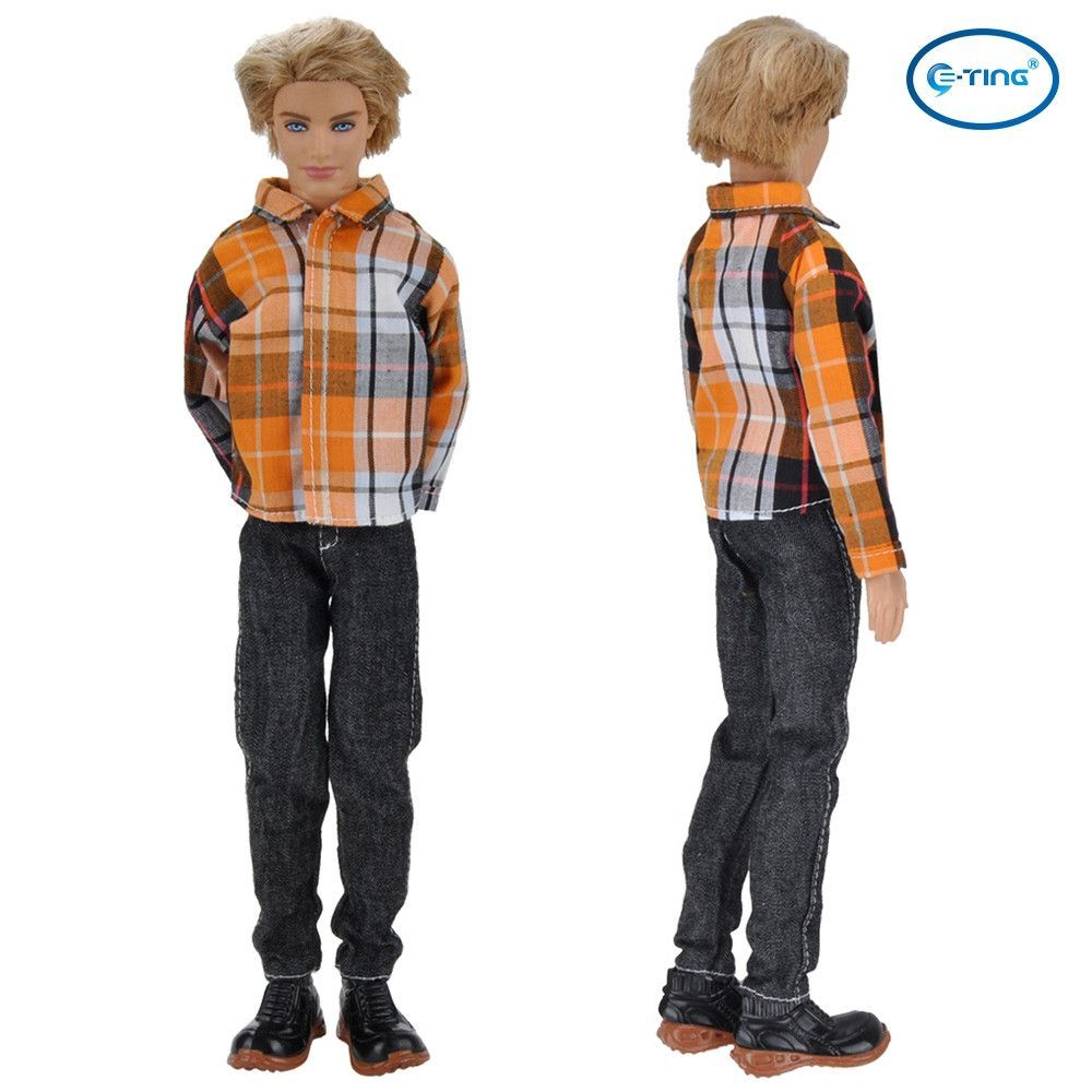 E-TING Handmade Dolls Clothes Casual Wear Shirt Trousers Suits For Barbie Ken Dolls