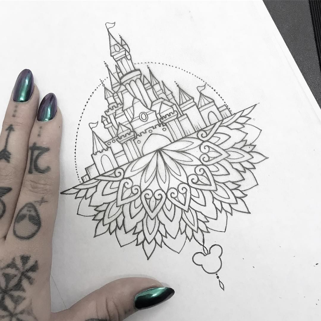 "Photo of 𝔐𝔢𝔡𝔲𝔰𝔞 𝔏𝔬𝔲 on Instagram: ""Available Disney castle, would ideally like to do a forearm or thigh with this piece, please email medusalouxx@gmail.com x"""