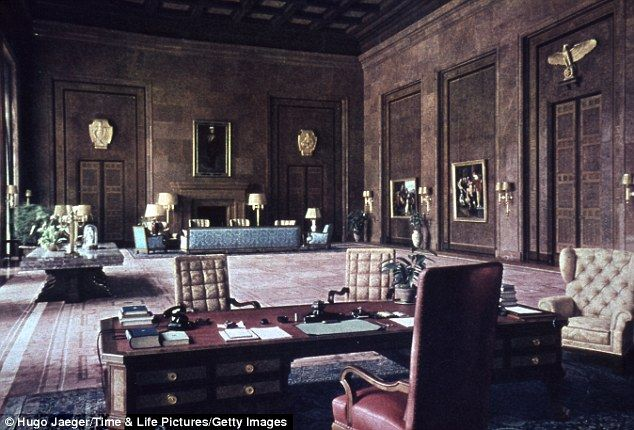 Hitler's huge office in the Chancellery, Berlin, Germany, in the late 1930s or early 1940s
