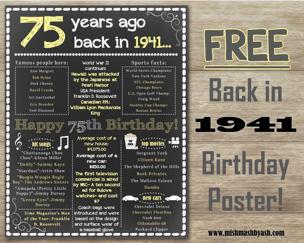 Back In 1941 Happy 75th Birthday 75th Birthday Decor Www