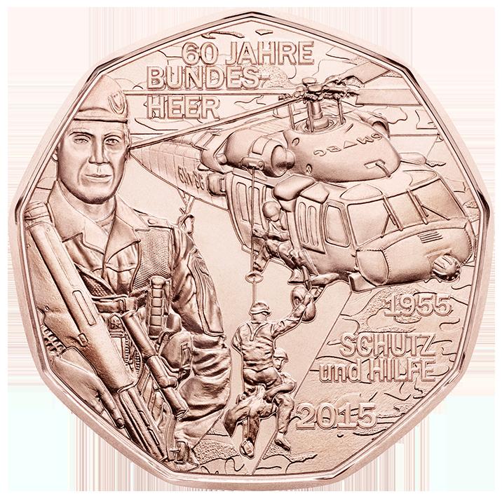 Der Black Hawk Hubschrauber Ziert Die 5 Euro Münze Und Das