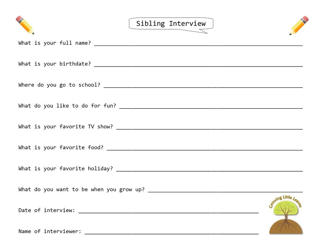 Sibling Interview Free Worksheet Growinglittleleaves
