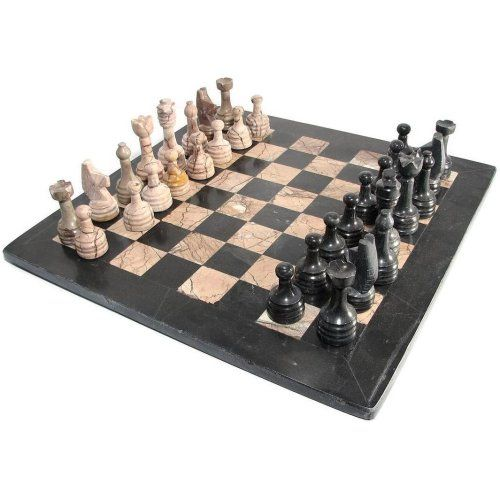 16 Marina And Black Marble Chess Set With Black Border For More Information Visit Image Link Marble Chess Set Chess Set Chess