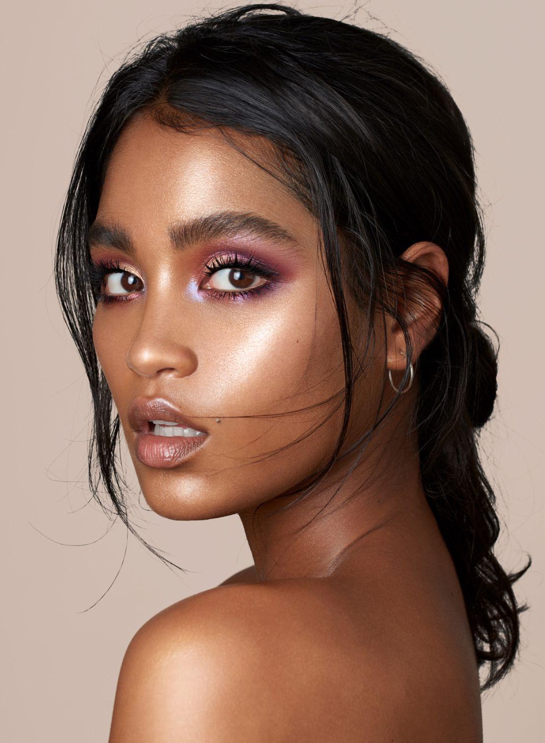 Glowy skin makeup look glam makeup Dark skin makeup