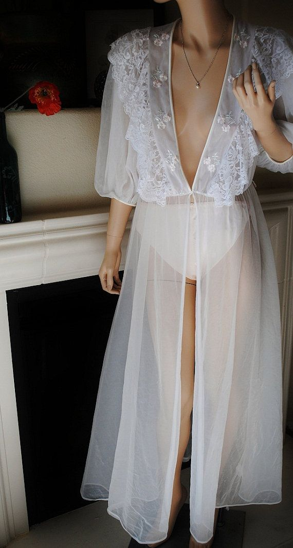 Vintage Long White Sheer Lace Trim Robe  by Val by LingerieAddicts, $22.00