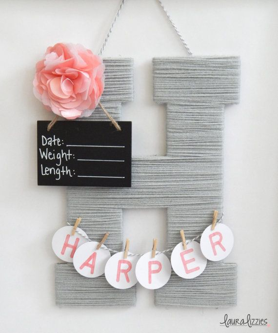 A Personalized Wooden Letter Covered In Soft Acrylic Yarn And Embellished With An Item To Match Your Babys Nursery Great Take The Hospital