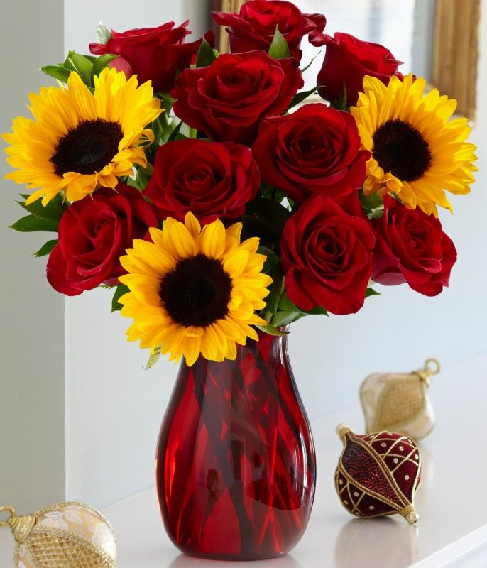 Holiday Love And Laughter Red Roses And Sunflowers Sunflowers And Roses Flower Arrangements