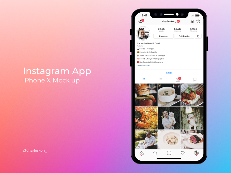 Instagram App Profile Mockup on iPhone X (con imágenes
